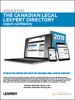 Canadian Legal Lexpert Directory 2019<br> closes January 11, 2019