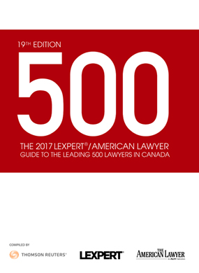 Lexpert®/American Lawyer publish 2017 Guide to the Leading 500 Lawyers in Canada