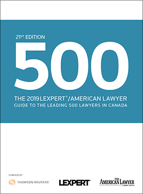 Lexpert®/American Lawyer publish 2019 Guide to the Leading 500 Lawyers in Canada